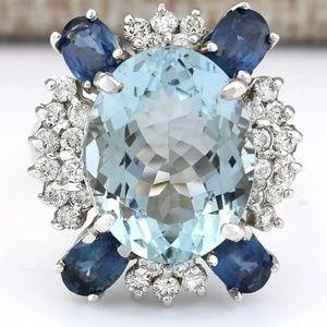 Jewelry - 💎💍Stunning Aquamarine & Royal blue Sapphire